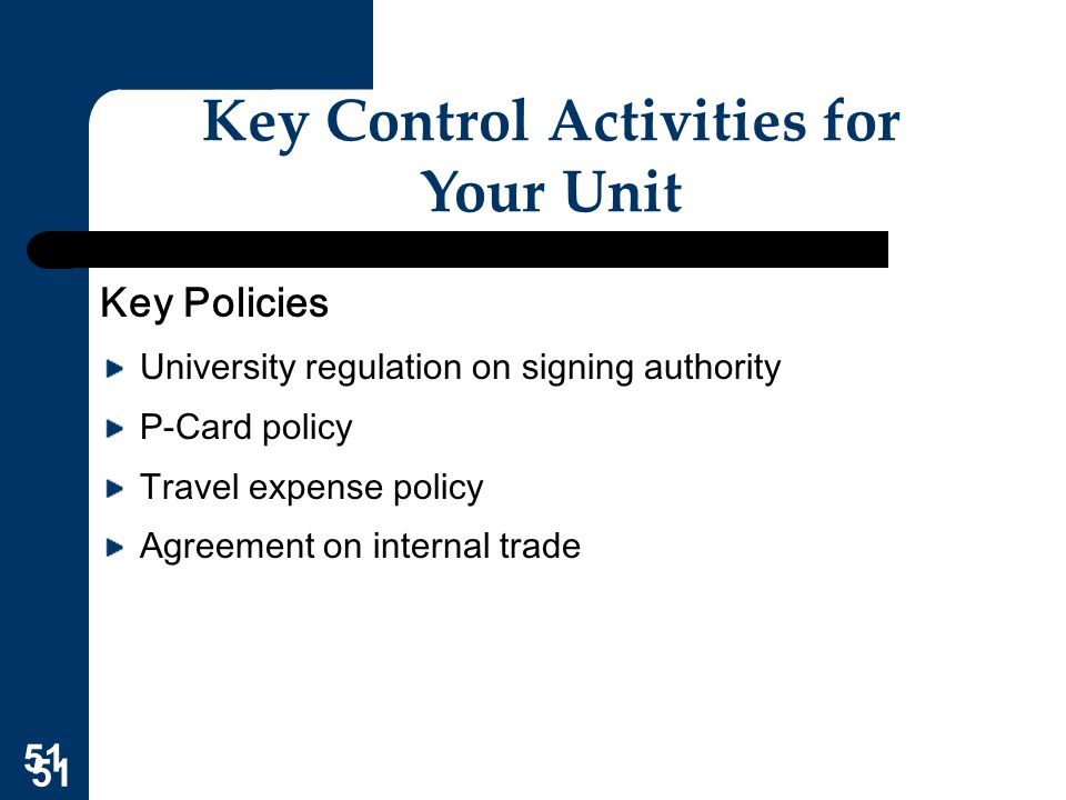 Key Control Activities for