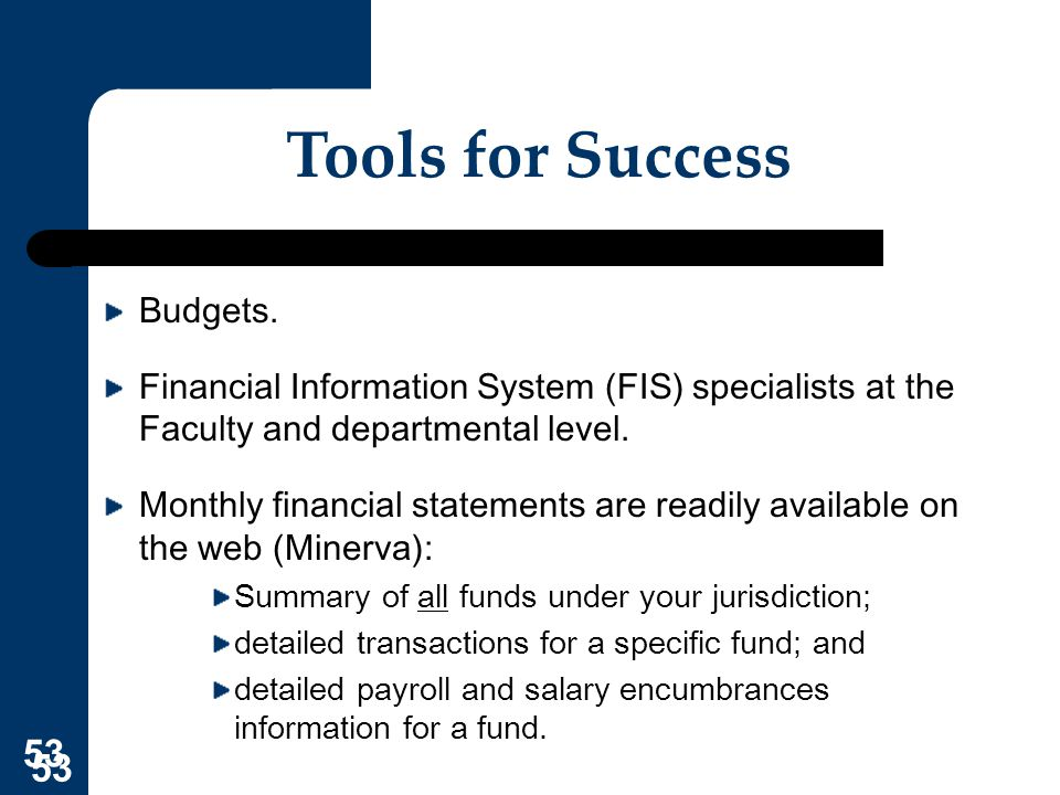 Tools for Success Budgets.