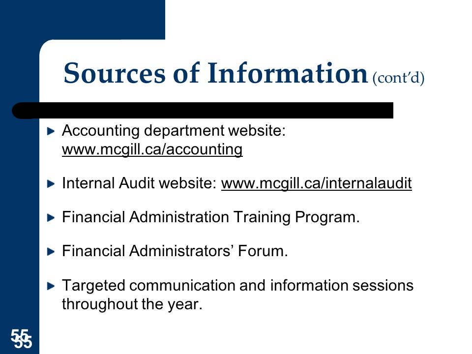 Sources of Information (cont'd)