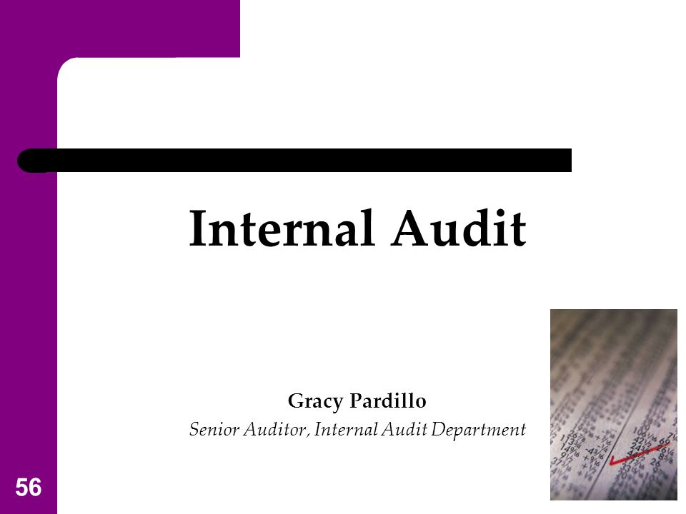 Senior Auditor, Internal Audit Department