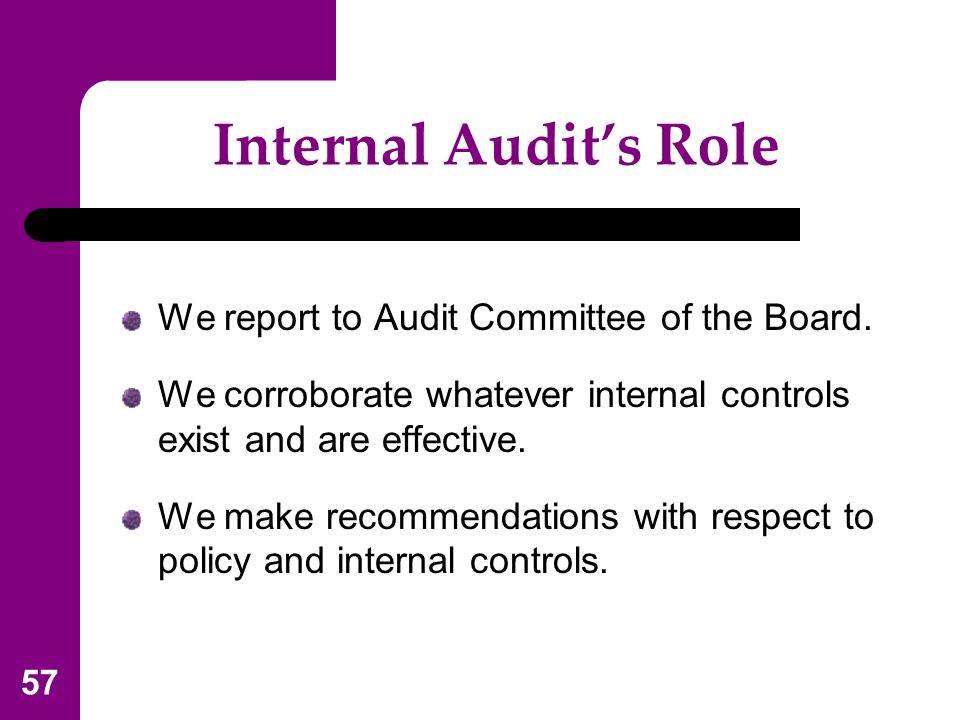 Internal Audit's Role We report to Audit Committee of the Board.