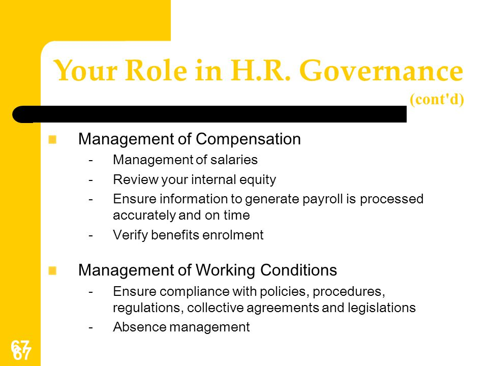 Your Role in H.R. Governance (cont d)