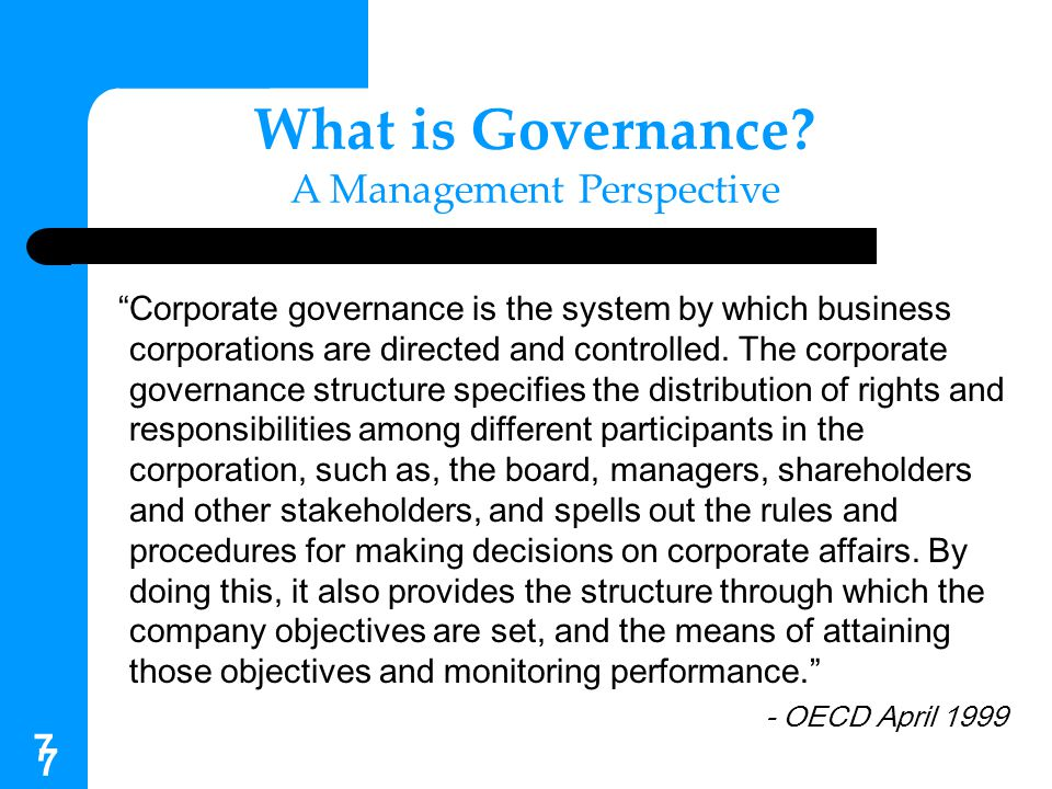 What is Governance A Management Perspective