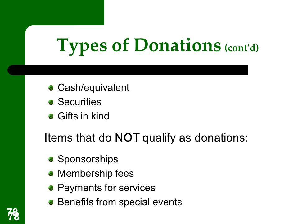 Types of Donations (cont d)