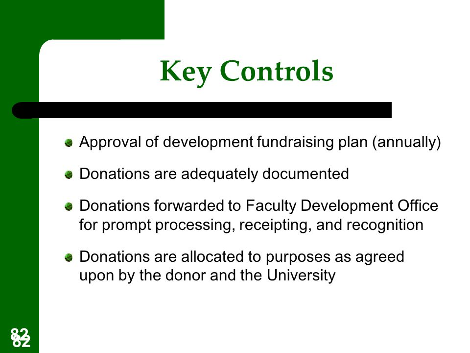Key Controls Approval of development fundraising plan (annually)