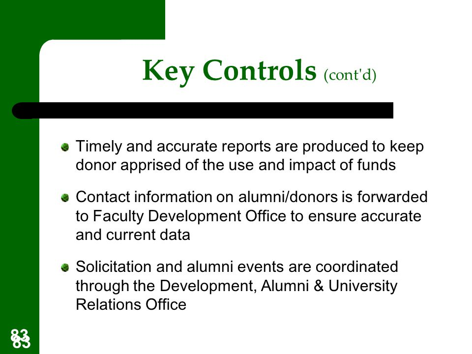 Key Controls (cont d) Timely and accurate reports are produced to keep donor apprised of the use and impact of funds.