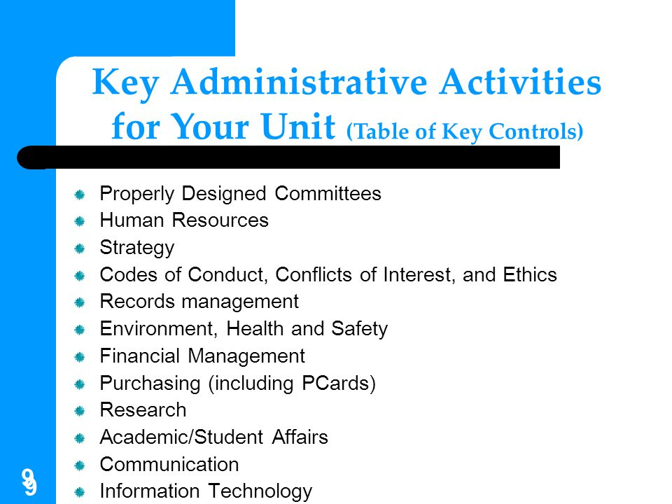 Key Administrative Activities for Your Unit (Table of Key Controls)