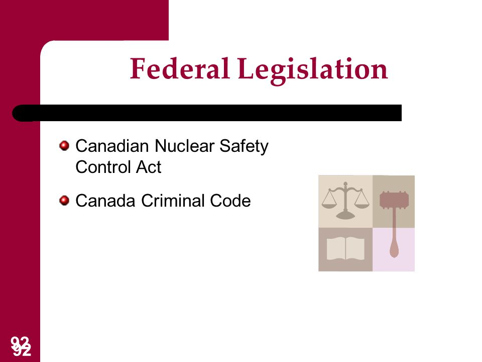 Federal Legislation Canadian Nuclear Safety Control Act