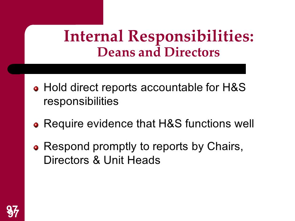 Internal Responsibilities: Deans and Directors
