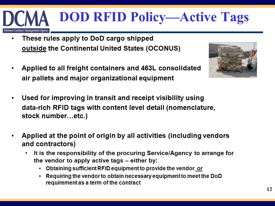 DOD RFID Policy—Active Tags
