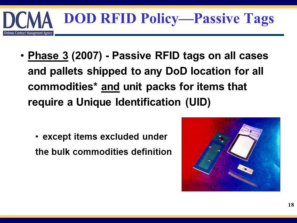 DOD RFID Policy—Passive Tags