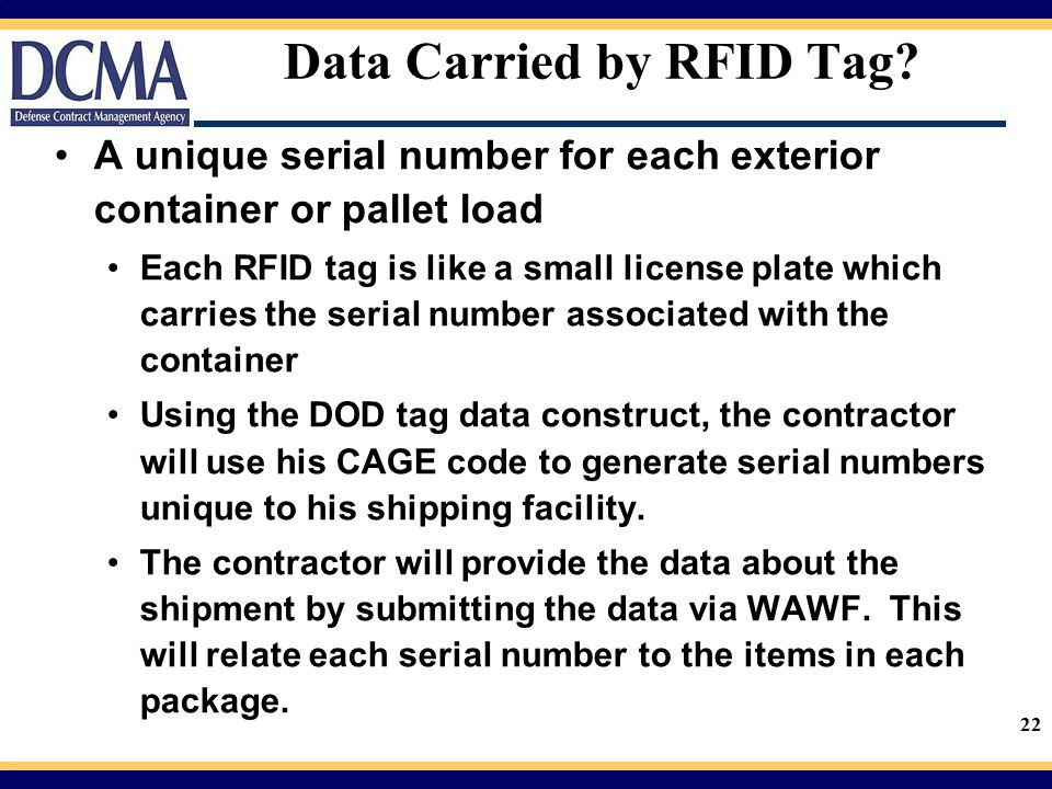 Data Carried by RFID Tag