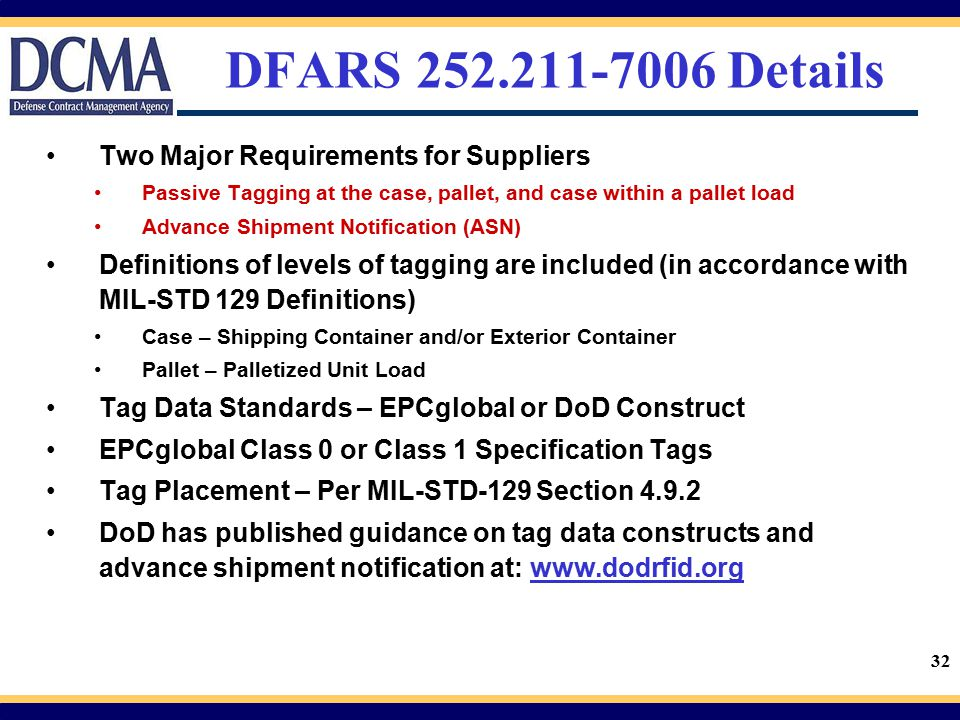 DFARS 252.211-7006 Details Two Major Requirements for Suppliers