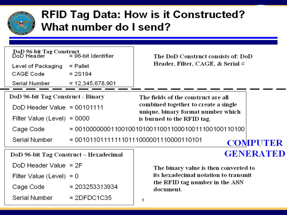 See the Suppliers' Passive RFID Information Guide at www. dodrfid