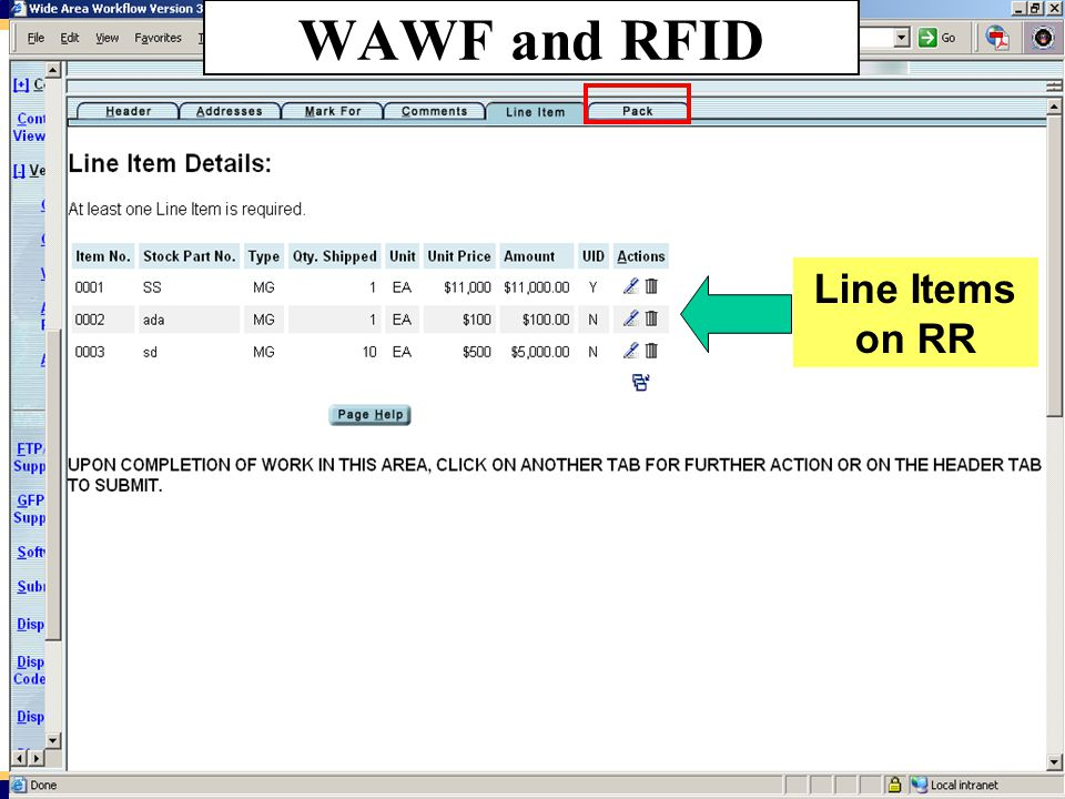 WAWF and RFID Line Items on RR 42