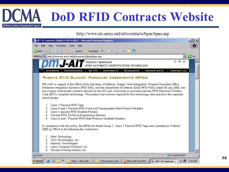 DoD RFID Contracts Website