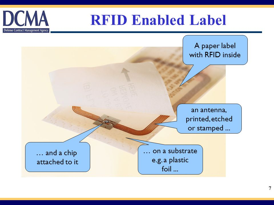 RFID Enabled Label A paper label with RFID inside