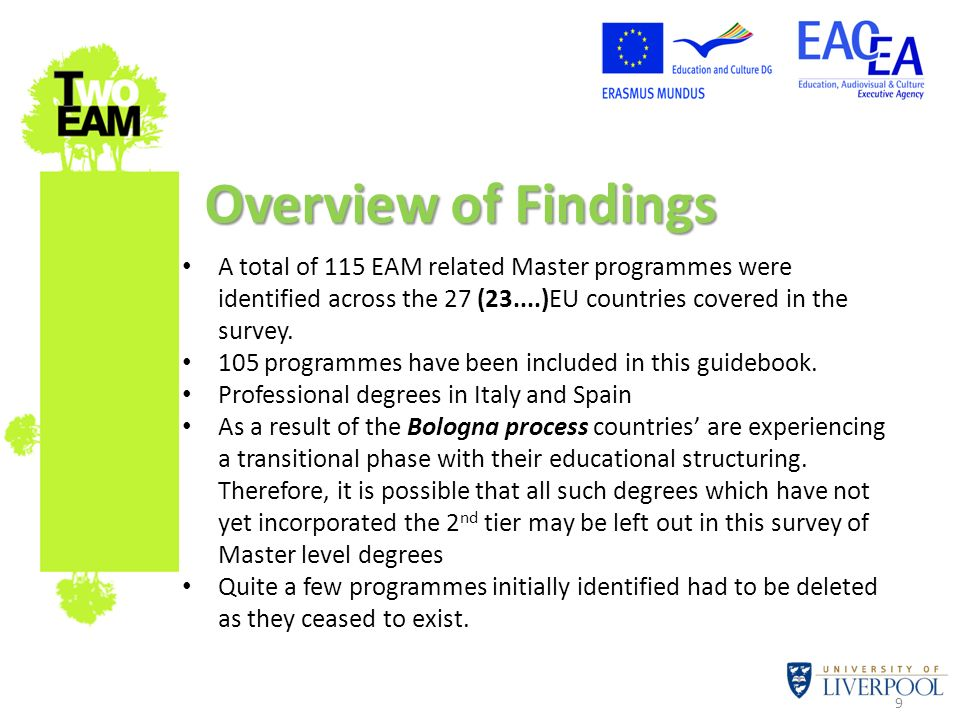 Overview of Findings A total of 115 EAM related Master programmes were identified across the 27 (23....)EU countries covered in the survey.