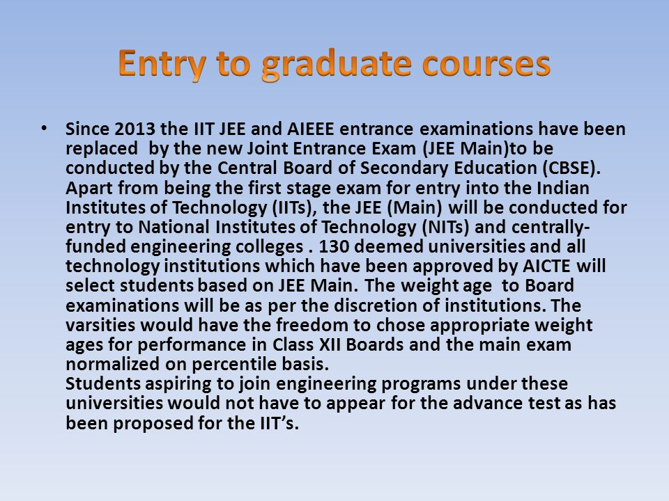 Entry to graduate courses
