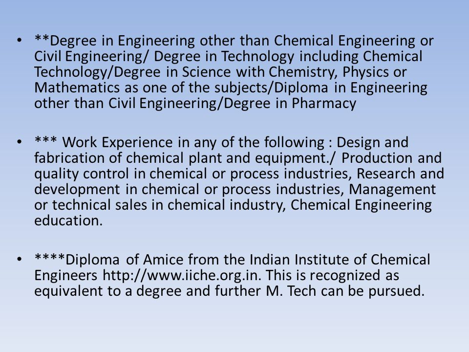 **Degree in Engineering other than Chemical Engineering or Civil Engineering/ Degree in Technology including Chemical Technology/Degree in Science with Chemistry, Physics or Mathematics as one of the subjects/Diploma in Engineering other than Civil Engineering/Degree in Pharmacy