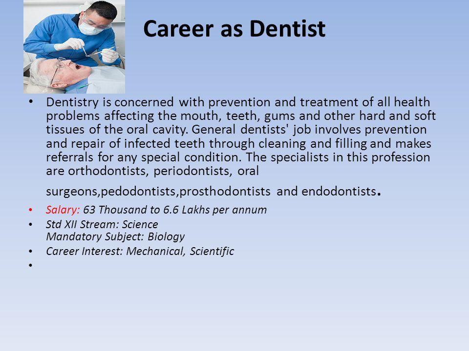 Career as Dentist