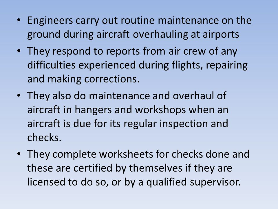 Engineers carry out routine maintenance on the ground during aircraft overhauling at airports