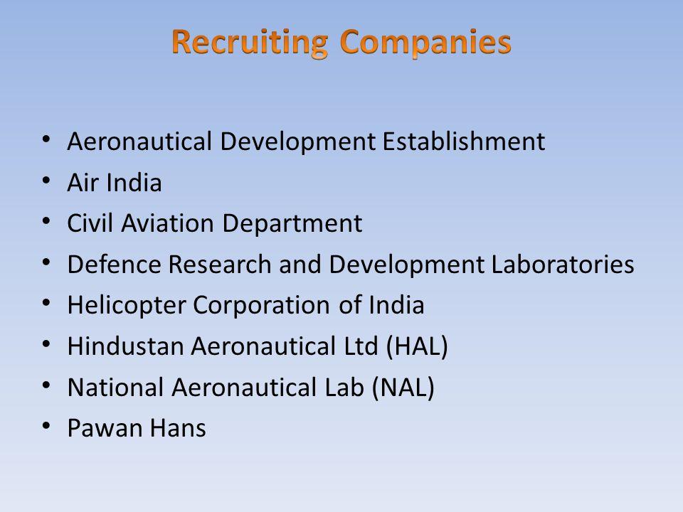 Recruiting Companies Aeronautical Development Establishment Air India