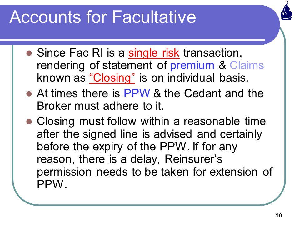 Accounts for Facultative