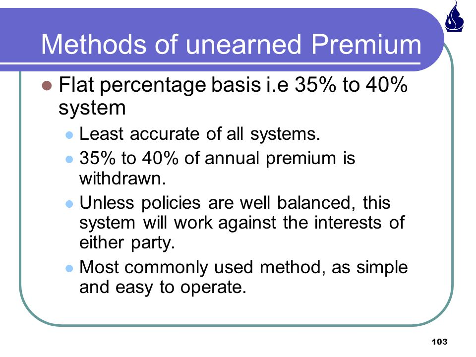 Methods of unearned Premium