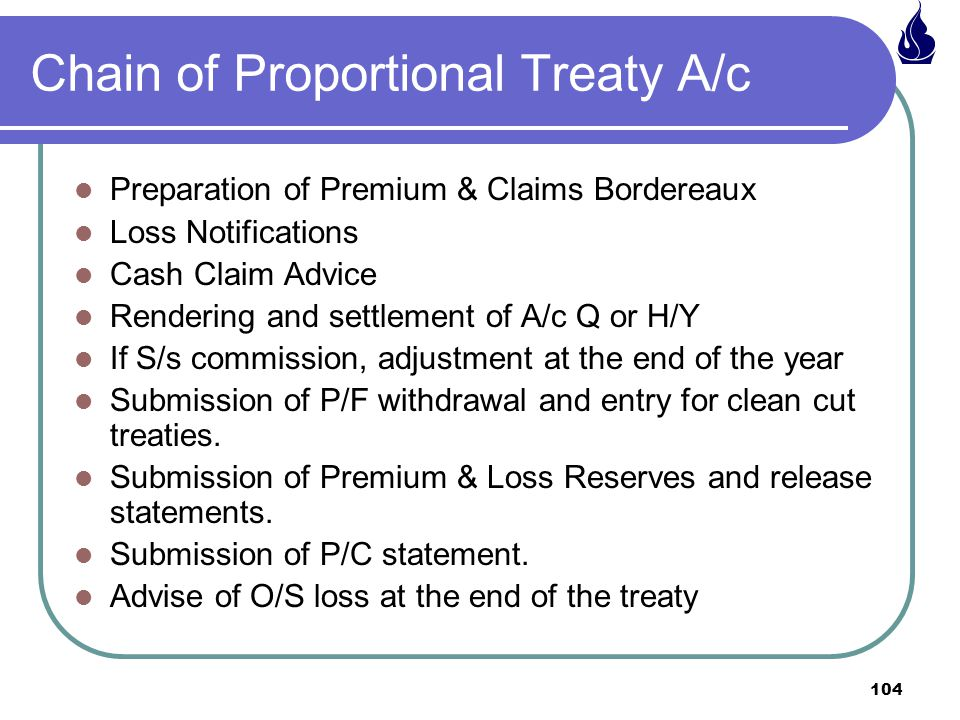 Chain of Proportional Treaty A/c