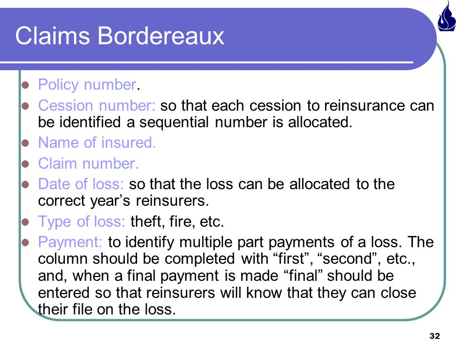 Claims Bordereaux Policy number.