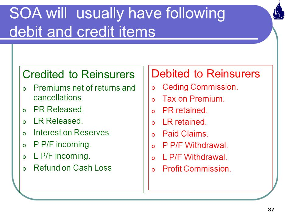 SOA will usually have following debit and credit items