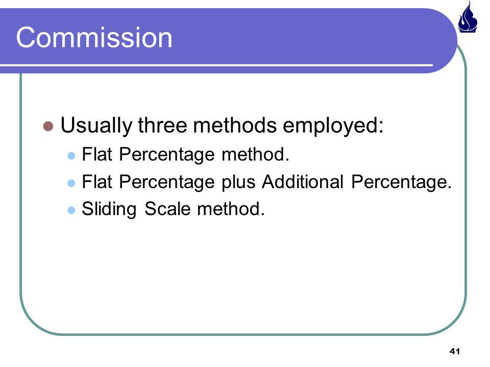 Commission Usually three methods employed: Flat Percentage method.