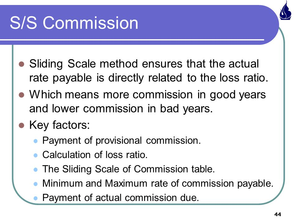 S/S Commission Sliding Scale method ensures that the actual rate payable is directly related to the loss ratio.