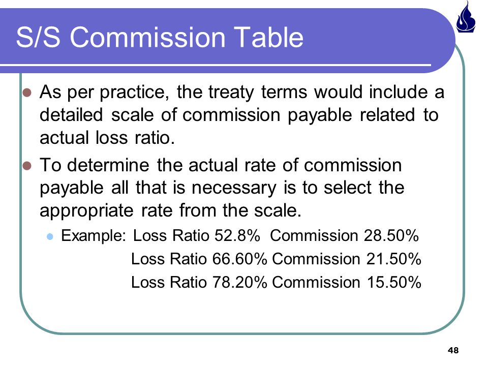 S/S Commission Table As per practice, the treaty terms would include a detailed scale of commission payable related to actual loss ratio.