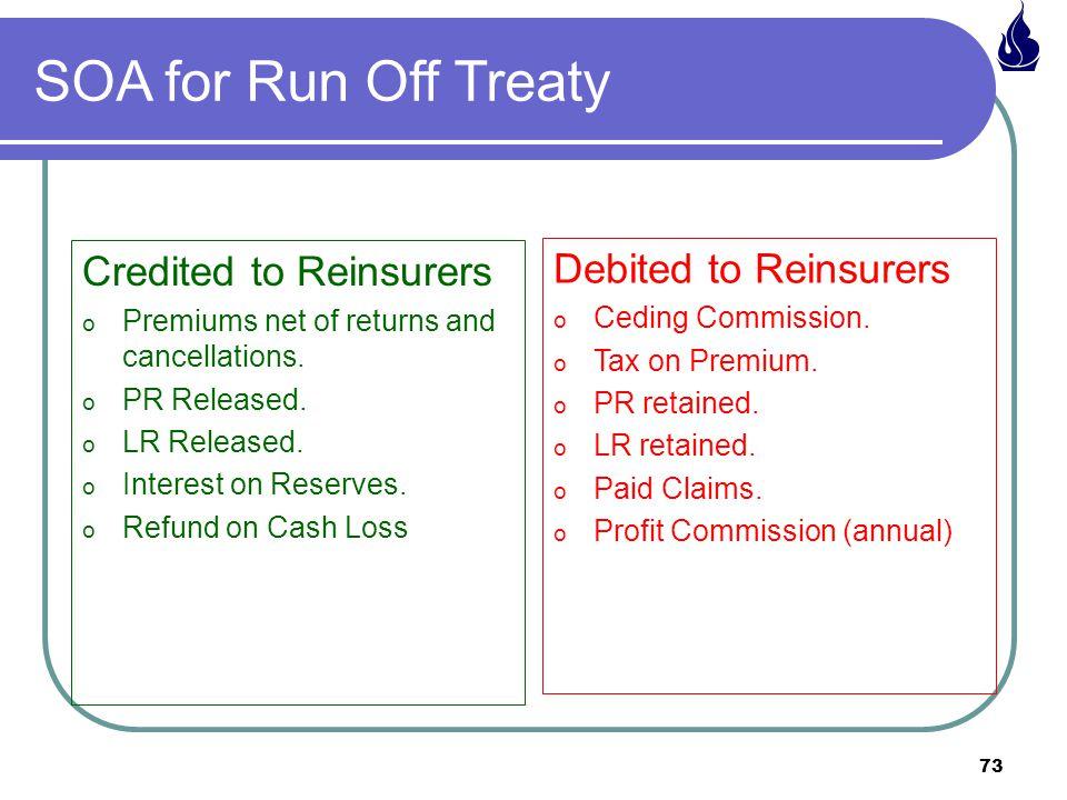 SOA for Run Off Treaty Credited to Reinsurers Debited to Reinsurers