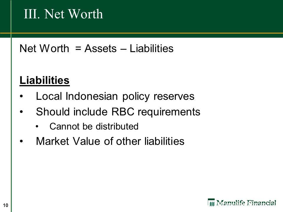 III. Net Worth Net Worth = Assets – Liabilities Liabilities