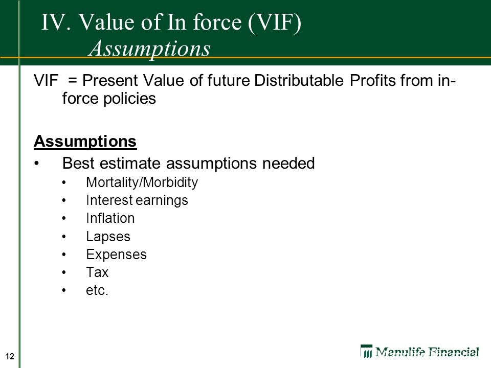 IV. Value of In force (VIF) Assumptions