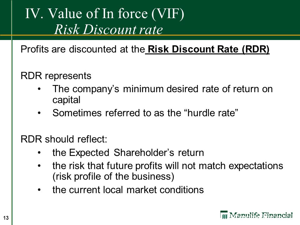 IV. Value of In force (VIF) Risk Discount rate