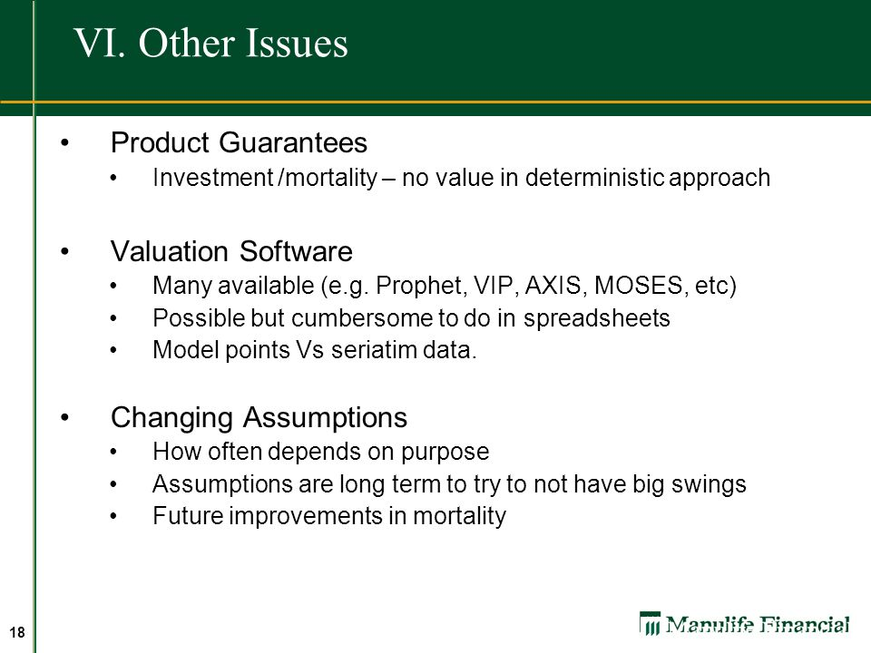 VI. Other Issues Product Guarantees Valuation Software