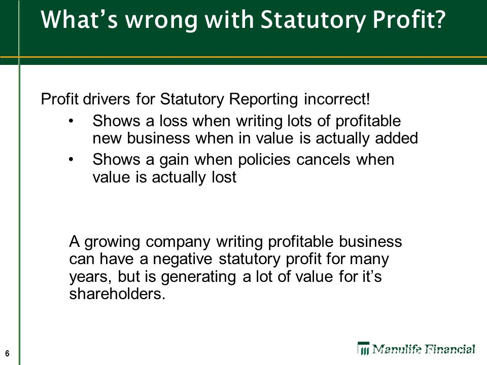What's wrong with Statutory Profit