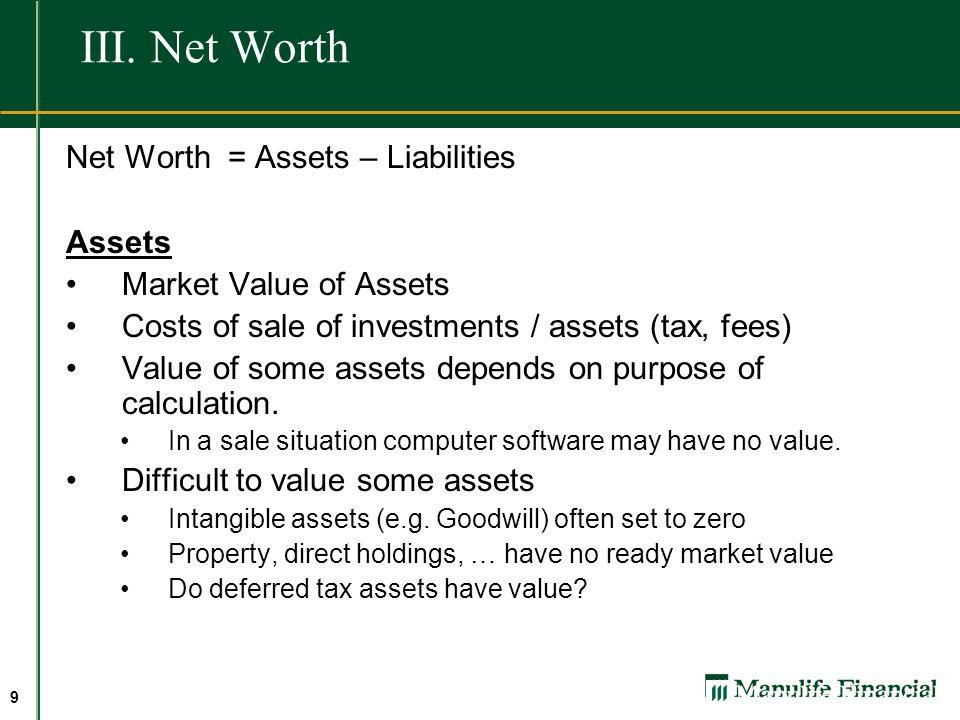 III. Net Worth Net Worth = Assets – Liabilities Assets