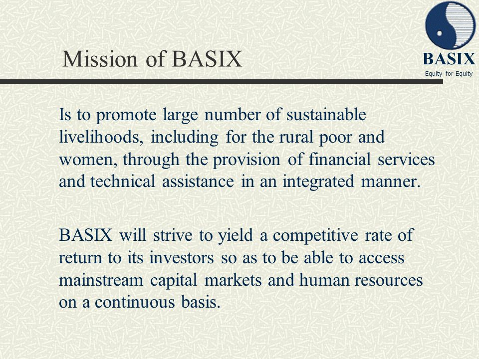 Mission of BASIX
