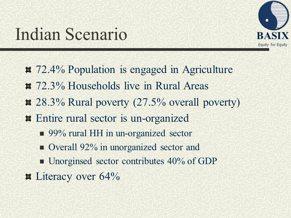 Indian Scenario 72.4% Population is engaged in Agriculture