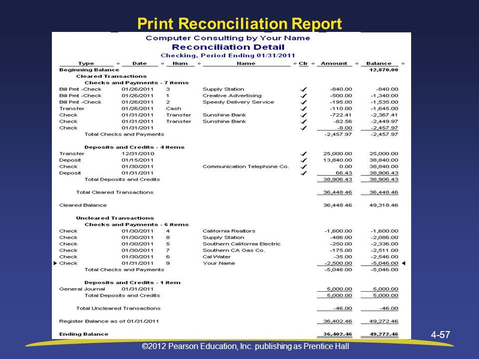 Print Reconciliation Report