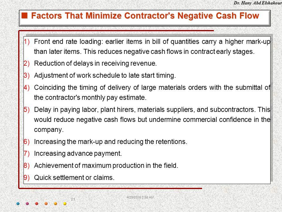 Factors That Minimize Contractor s Negative Cash Flow