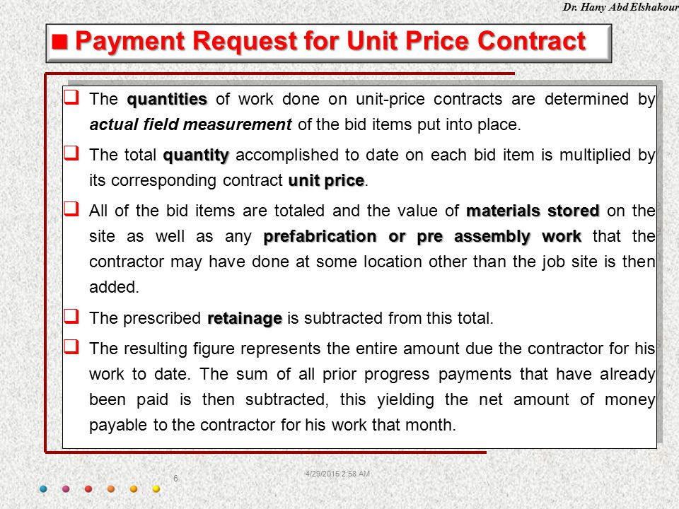 Payment Request for Unit Price Contract