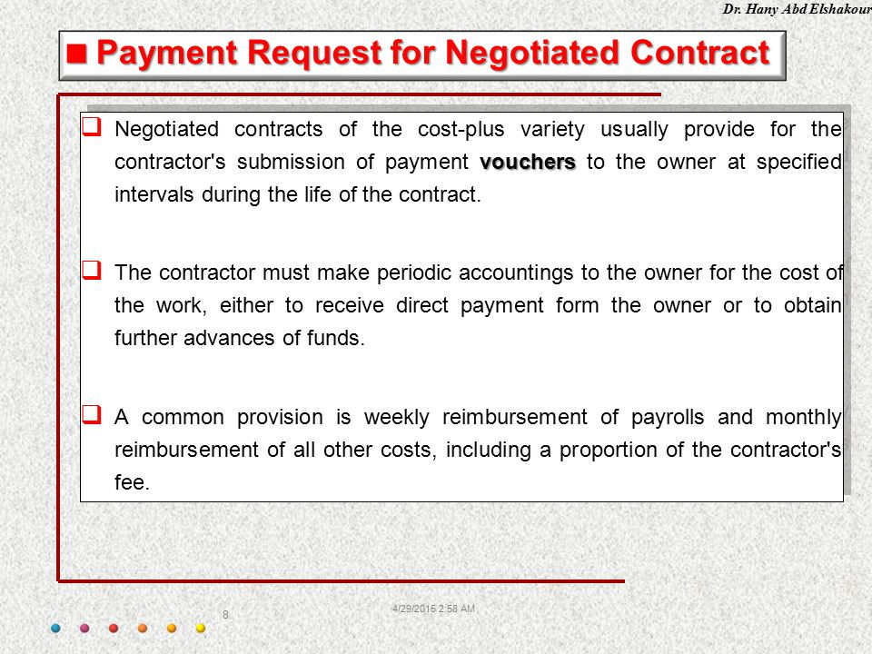 Payment Request for Negotiated Contract