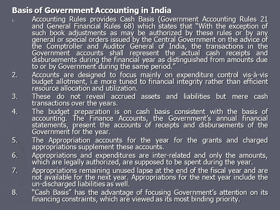 Basis of Government Accounting in India