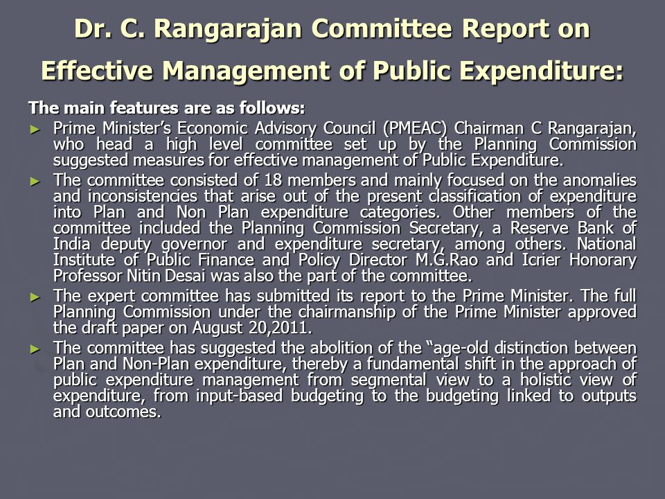 Dr. C. Rangarajan Committee Report on Effective Management of Public Expenditure: